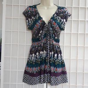 Hale Bob 100% Silk Stretch Multi Printed Top/Dress
